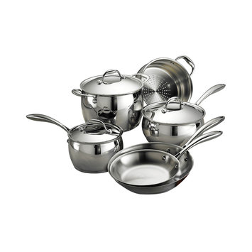 Tramontina Usa Inc. Tramontina Gourmet Domus 18/10 Stainless Steel Tri-Ply Base - Induction-Ready 9 Pc Cookware Set