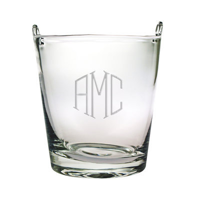 Monogrammed 7.25-in Glass Ice Bucket - Dots Design