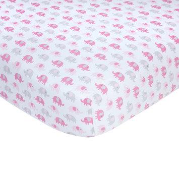 Carter S Carter's Sateen Pink/Gray Elephant Print Crib Sheet
