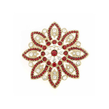 Monet Jewelry Red Crystal and Gold-Tone Poinsettia Pin