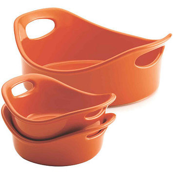 Rachael Ray Stoneware 3-pc. Orange Small Round Set