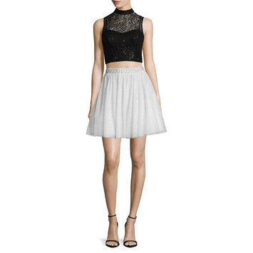 City Triangles Sleeveless Sequin-Lace Two-Piece Party Dress - Juniors