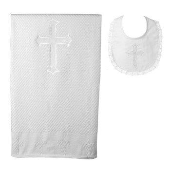 Asstd National Brand Keepsake Christening Blanket and Bib Set - Girls One Size