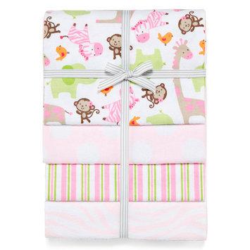 Triboro Quilt Co. Carter's Girly Zebra Print 4 Pack Flannel Receiving Blanket