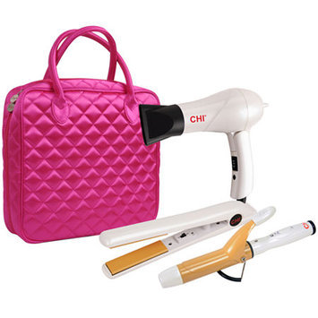 Chi Appliances CHI Travel Flat Iron, Hair Dryer and Curling Iron in Pink Quilted Bag
