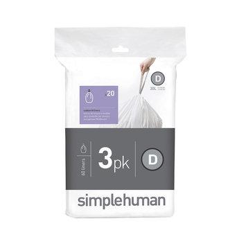 simplehuman Trash Bags 5.3 gal. Custom Fit Trash Can Liner, Code D (60-Count) (3-Packs of 20 Liners) CW0254