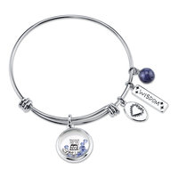 love this life Crystal & Sodalite Stainless Steel Wisdom Owl Charm Bangle Bracelet