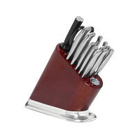 KitchenAid® 14-pc. Iconic Cherry Stained Block with Aluminum Polished Base and Stainless Steel Knife Set