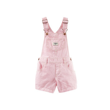 OshKosh B'gosh Shortall in Pink Hickory Stripe