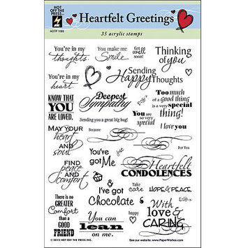 Asstd National Brand Hot Off The Press 'Heartfelt Greetings Acrylic Stamps Sheet