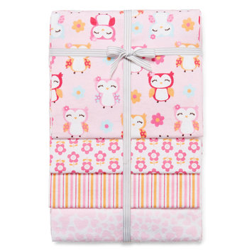 Triboro Quilt Co. Carter's Girly Owl 4 Pack Flannel Receiving Blanket