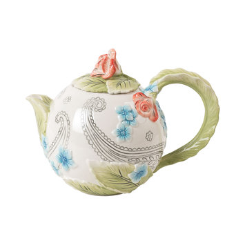 Fitz and Floyd Paisley Park Teapot, Ivory/Multi
