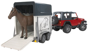 Bruder Jeep Wrangler Unlimited with Horse Trailer and Horse