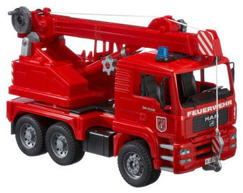 Bruder Spielwaren Bruder Man Fire Engine Crane Truck w/ Light & Sound