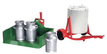 Bruder Milk container, movable load case and 3 milk churn