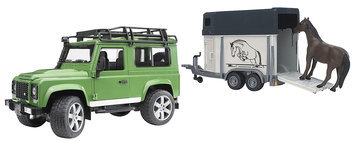 Bruder Spielwaren Bruder Land Rover Defender with Horse Trailer and Horse