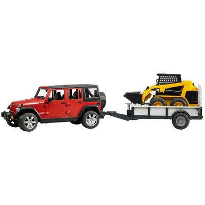 Bruder Jeep mit Anhänger und CAT Kompaktlader