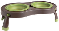 Popware for Pets Collapsible & Elevated Pet Feeder - Brown & Green