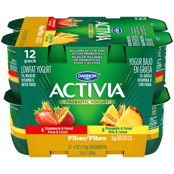 Activia® Fiber Strawberry Cereals And Pineapple Cereal Probiotic Yogurt