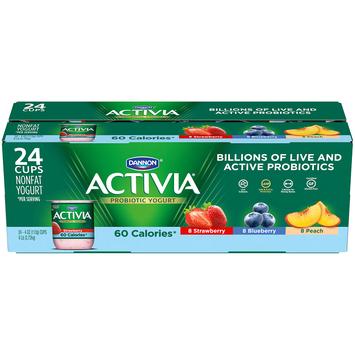Dannon Activia Probiotic Strawberry, Blueberry and Peach Lowfat Yogurt