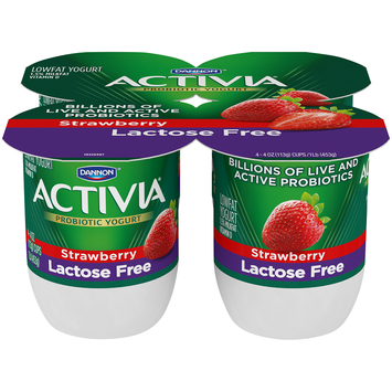 Dannon Activia Strawberry Probiotic Lactose Free Blended Yogurt