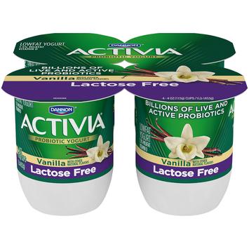 Dannon Activia Vanilla Probiotic Lactose Free Blended Yogurt