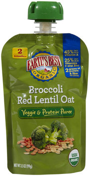 Hain Celestial Earth's Best Vegetable & Protein Puree Broccoli Red Lentil Oat