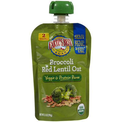 Hain Celestial Earth's Best Vegetable & Protein Puree Broccoli Red Lentil Oat
