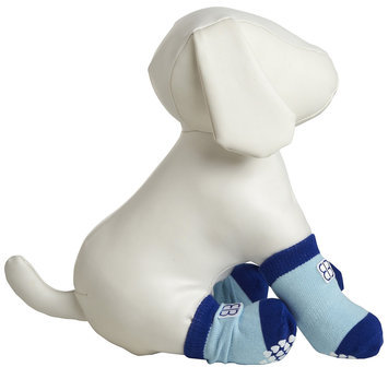 Pet Ego Home Comfort Traction Control Socks Blue, Size: Medium