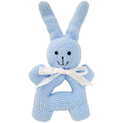 Estella Bunny Rattle With Handle - Blue - 1 ct.