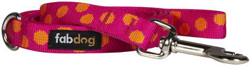 Fab Dog Dot Leash - Pink - Large - 1 inch x 5 feet
