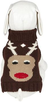 Fab Dog Holiday Reindeer Turtleneck - Chocolate