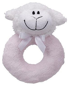 First Friends Pastel Pink Lamb Ring Rattle with Single Detachable Breast Feeding Pacifier - 1 ct.