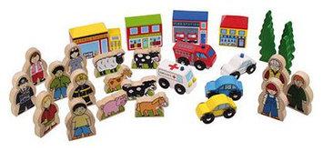 Bigjigs Toys Track Side Figure Block Expansion Set (34 accessories)