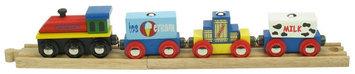 Bigjigs Toys Bigjigs Wooden Complete 4-Piece Train Set (Ice Cream Train)