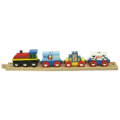 Bigjigs Toys Bigjigs Wooden Complete 4-Piece Train Set (Ice Cream Train)
