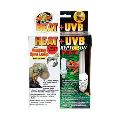 Zoo Med Heat and UVB Basking Spot Lamp and Reptile Sun Fluorescent Combo Pack