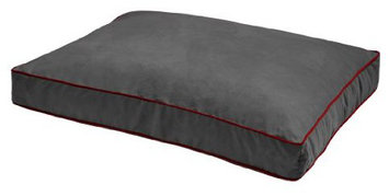 Dog Gone Smart Bed DGSNSRE302106 L Graphite Nanosuede Rectangular Red Piping