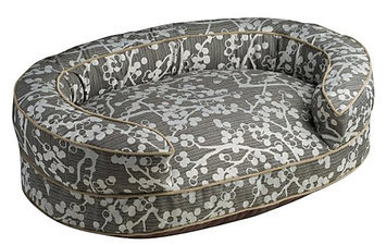 Crypton Super Fabric Cherries Oval Bolster Charcoal, Large