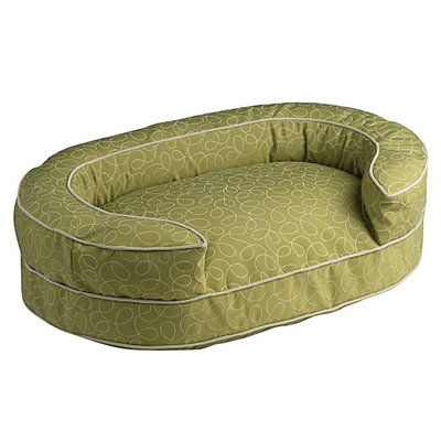 Crypton Super Fabric Loppy Oval Bolster Green, Medium