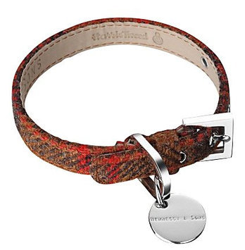 Hennessy & Sons Harris Tweed & Leather Dog Collar