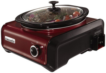 Crock-Pot SCCPMD3-R Hook Up Oval Connectable Entertaining Slow Cooker, 3.5-Quart, Metallic Red