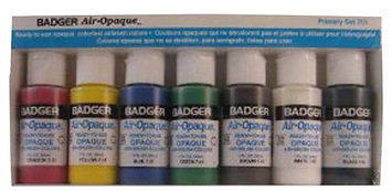 Badger Air-Brush Company Air-Opaque Airbrush Ready Water Based Acrylic Paint, Primary, Set of 7