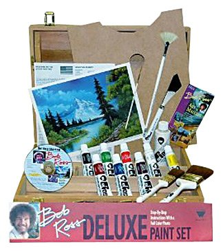 Bob Ross Deluxe Wood Box Master Paint Set With One Hour DVD