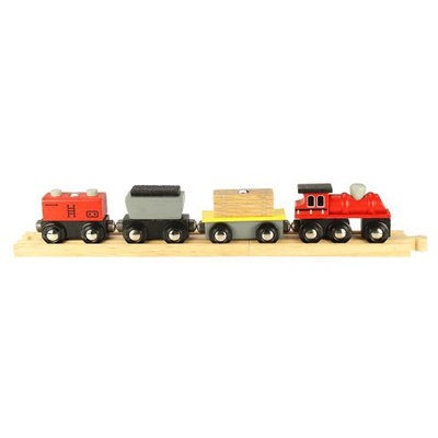 Bigjigs Wooden Complete 4-Piece Train Set (Freight Train)