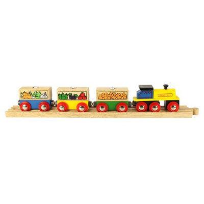 Bigjigs Toys Bigjigs Wooden Complete 4-Piece Train Set (Fruit and Vegetable Train)