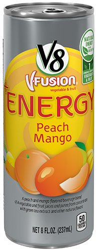 V8® V-Fusion + Energy Peach Mango Flavored Vegetable & Fruit Juice