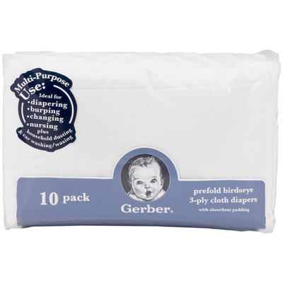Gerber Prefold Birdseye Cloth Diapers - Padding - 10pk