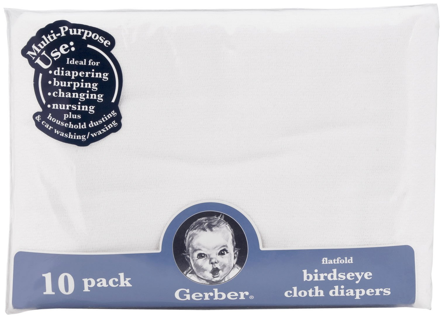 Gerber Flatfold Birdseye Cloth Diapers - 10pk