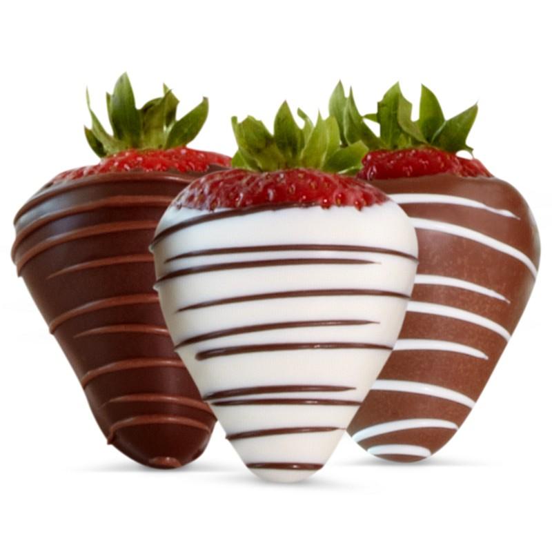 Shari's Strawberries With Chocolate Swizzle